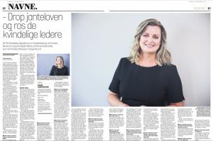 Artikel i Viborg Stift Folkeblad Søndag - om kvindelig leder Pia Grandelag